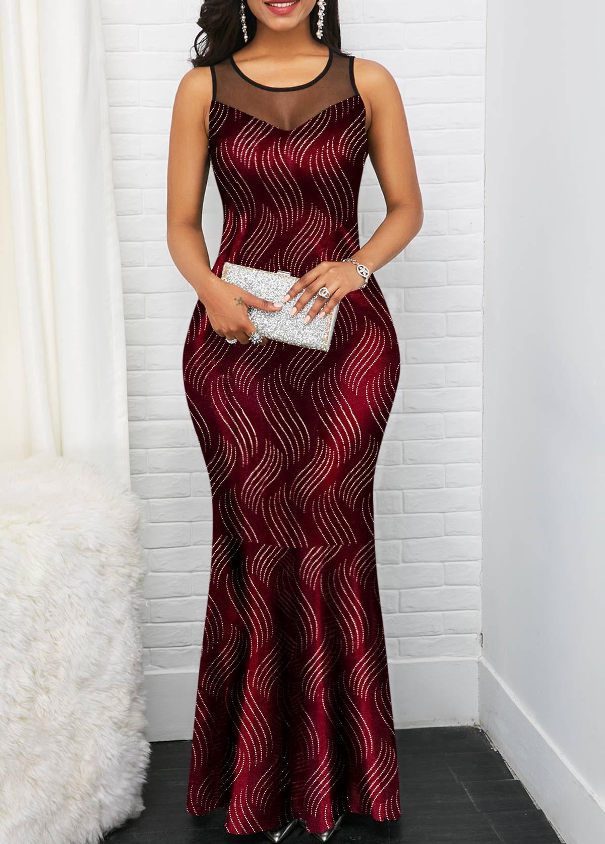 Mesh Panel Sleeveless Hot Stamping Maxi Dress