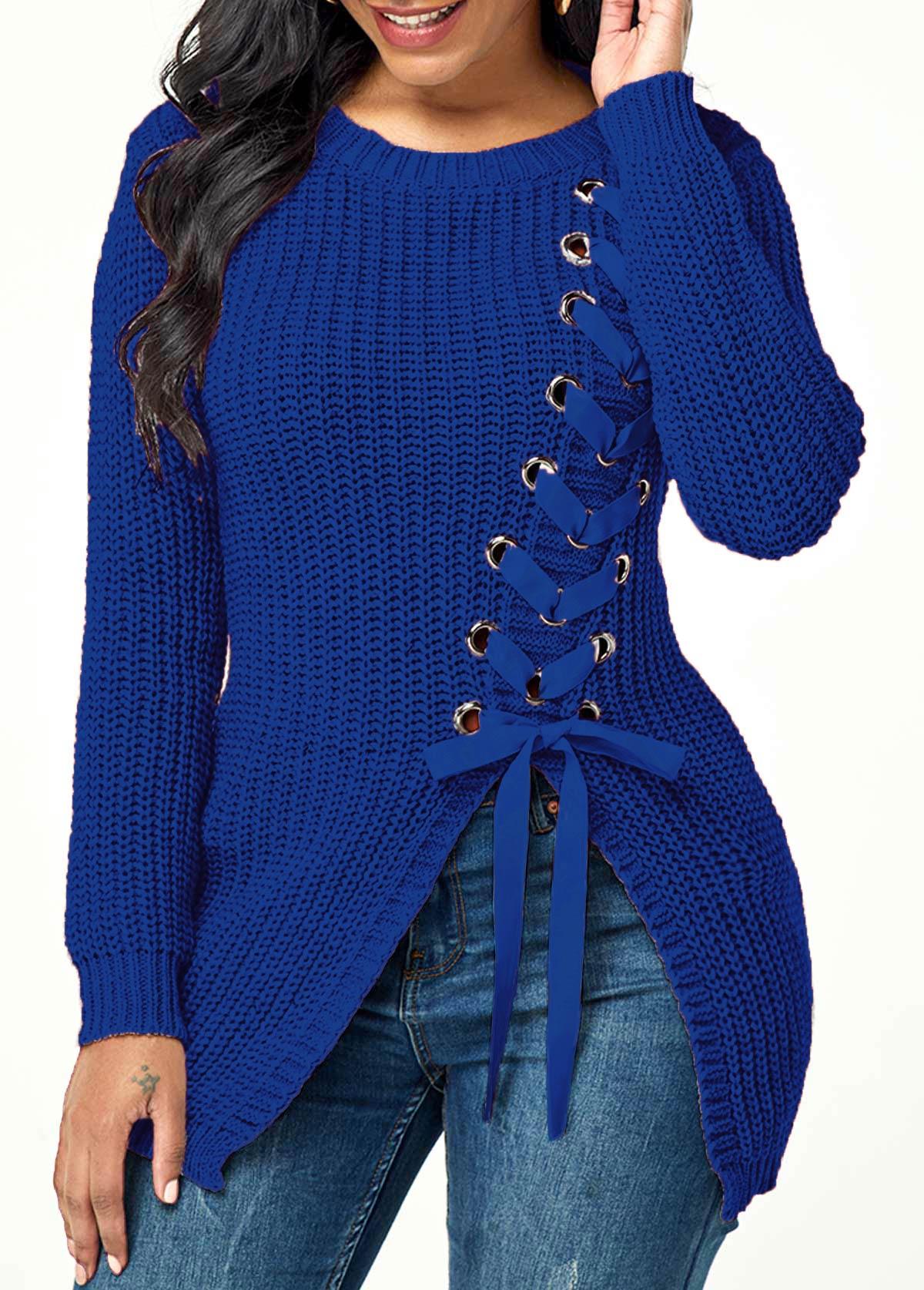 Lace Up Asymmetric Hem Rib Knit Sweater
