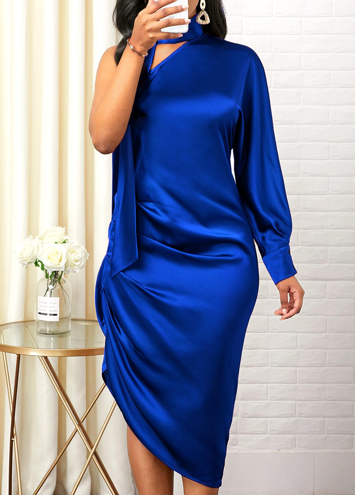 One Shoulder Royal Blue Asymmetric Hem Dress