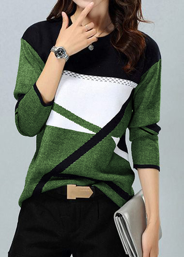 Geometric Pattern Pullover Long Sleeve Sweater