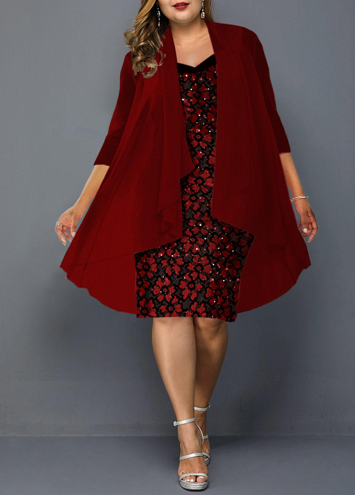 ROTITA Wine Red Plus Size Chiffon Cardigan and Lace Dress