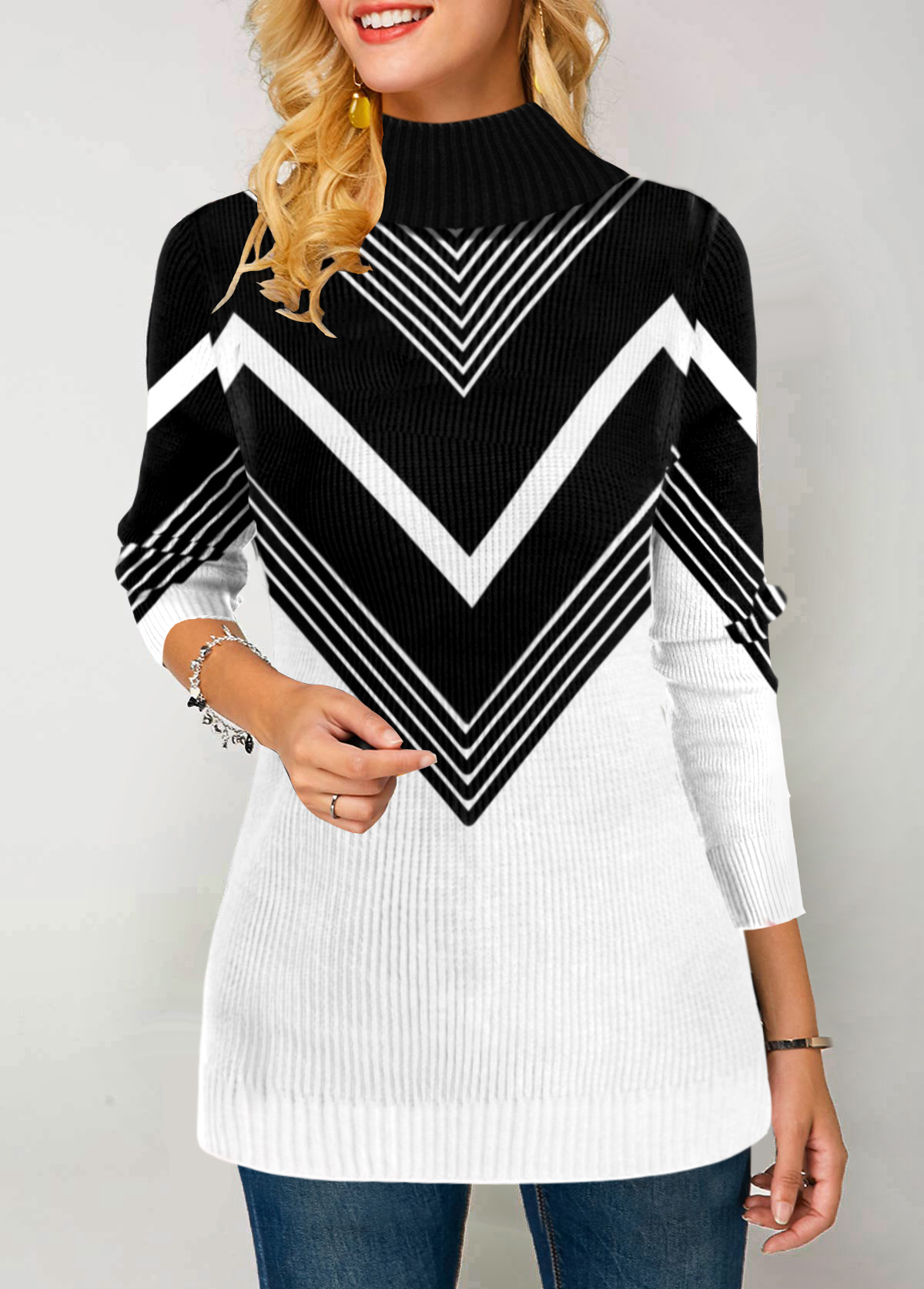 Chevron Pattern Pullover High Neck Sweater