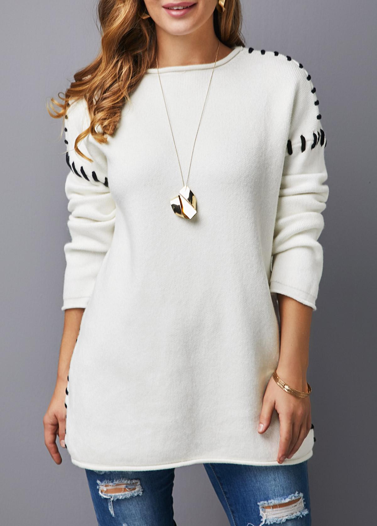 Long Sleeve White Round Neck Sweater