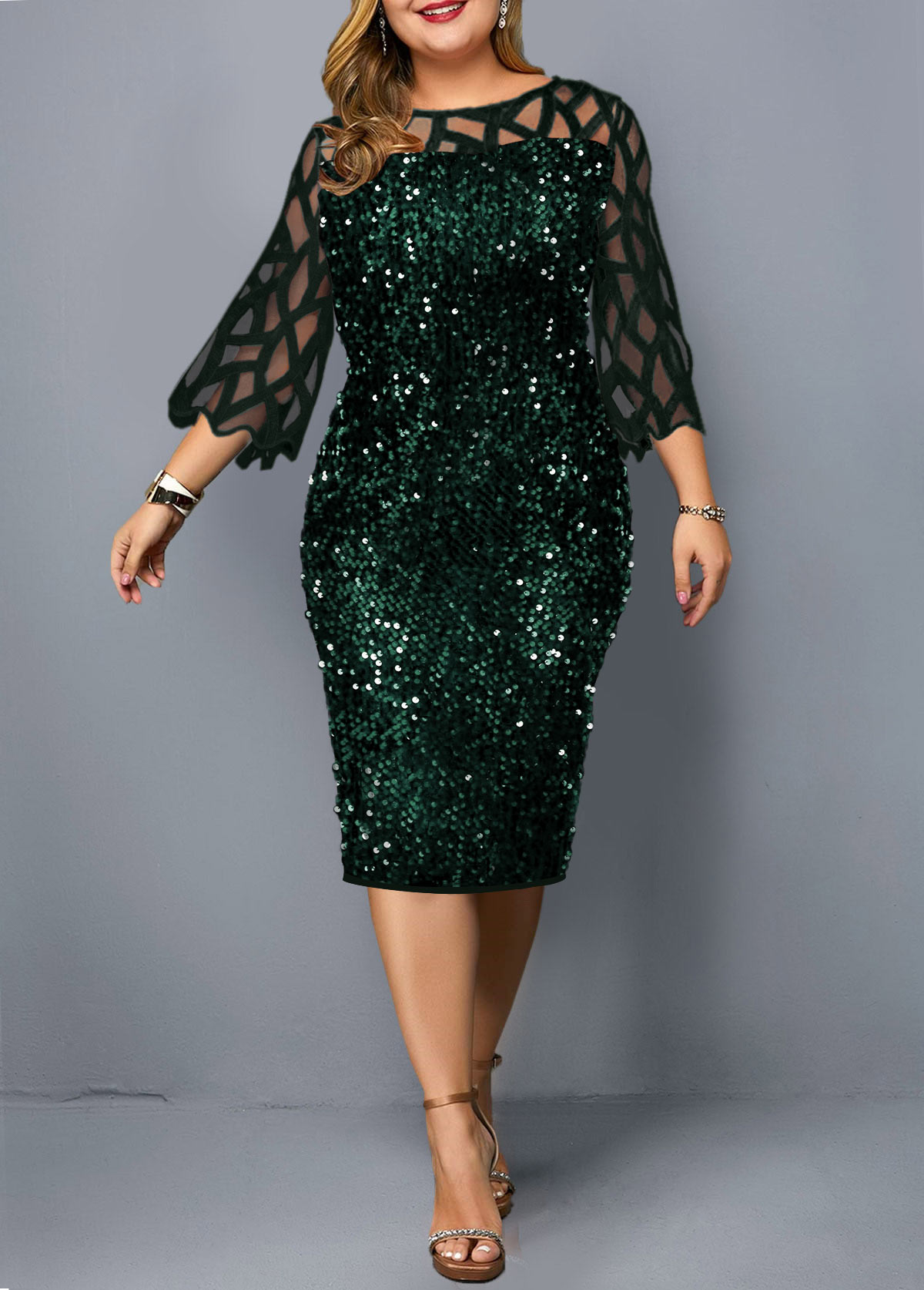 ROTITA Sequin Detail Plus Size Mesh Panel Dress