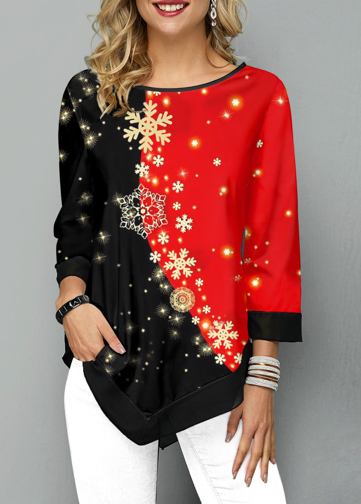 Asymmetric Hem Color Block Snowflake Print T Shirt