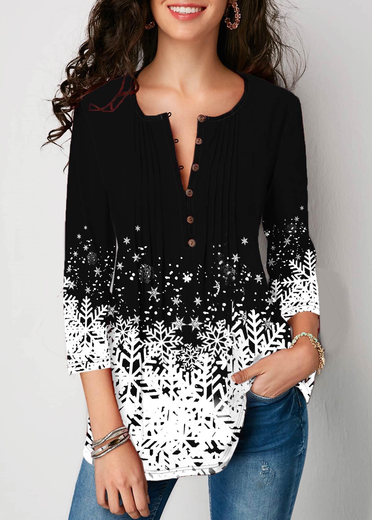 ROTITA Christmas Snowflake Print 3/4 sleeve Button Detail Blouse