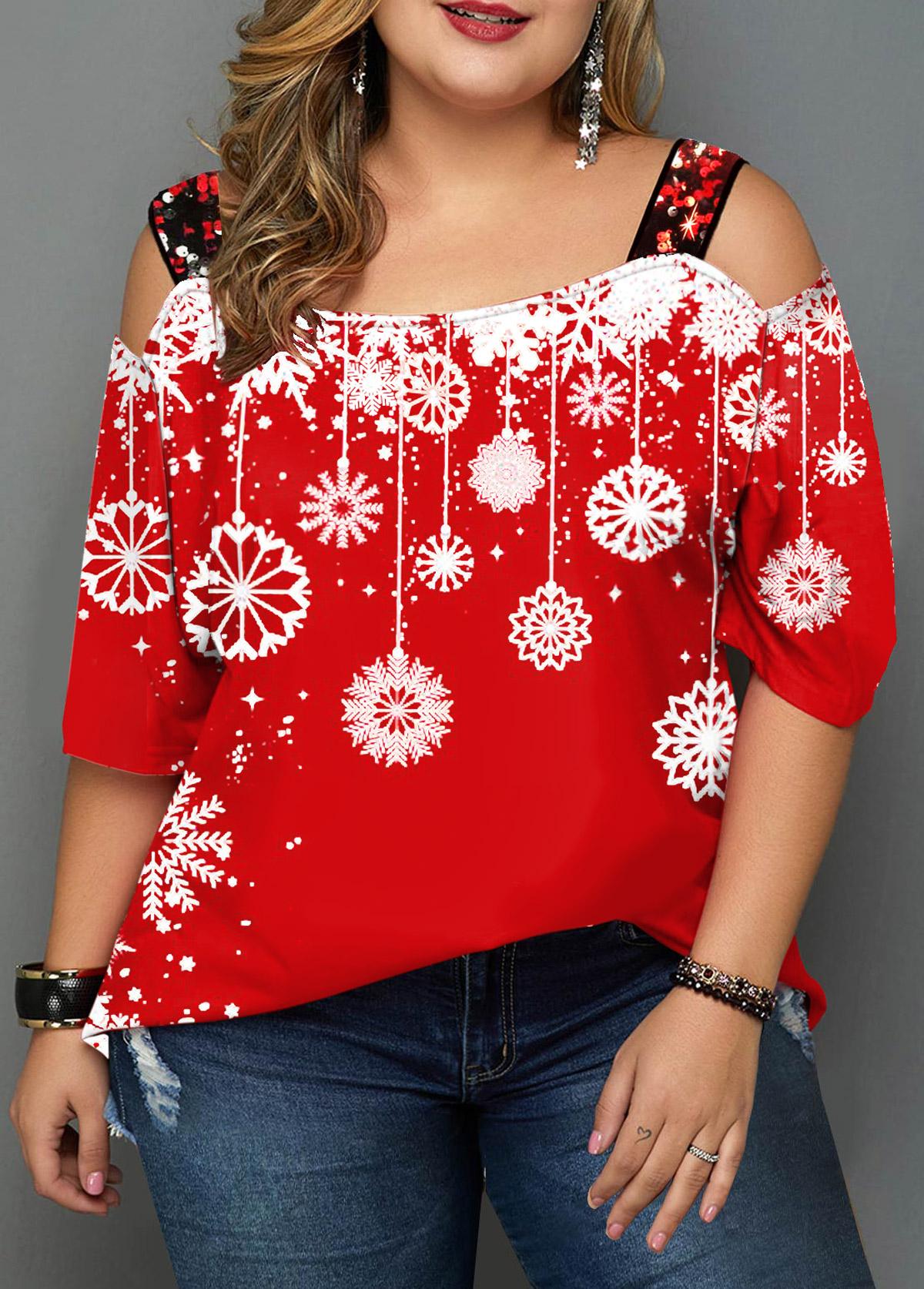 Plus Size Snowflake Print Sequin Detail T Shirt