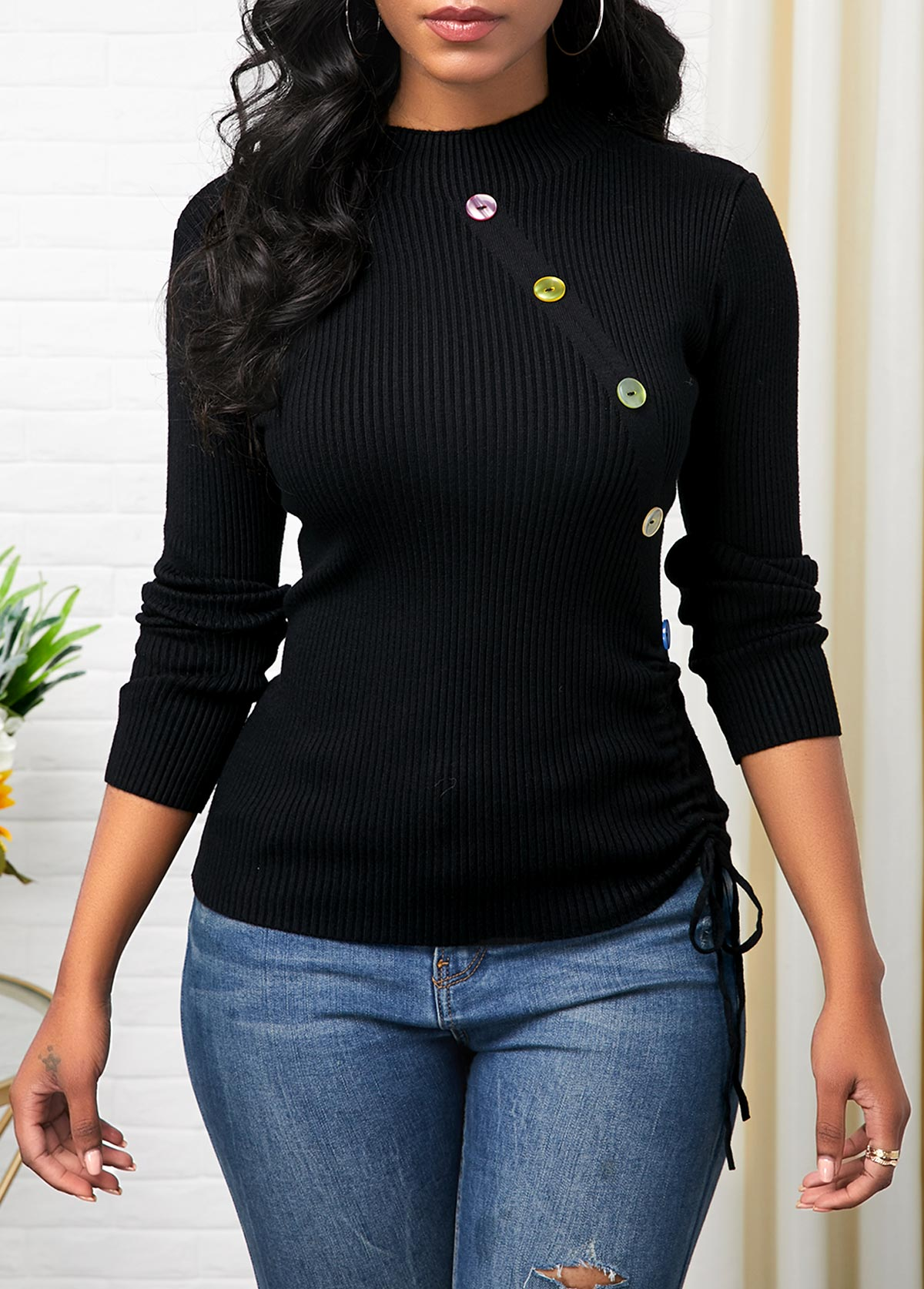 Button Detail Drawstring Side Long Sleeve Sweater