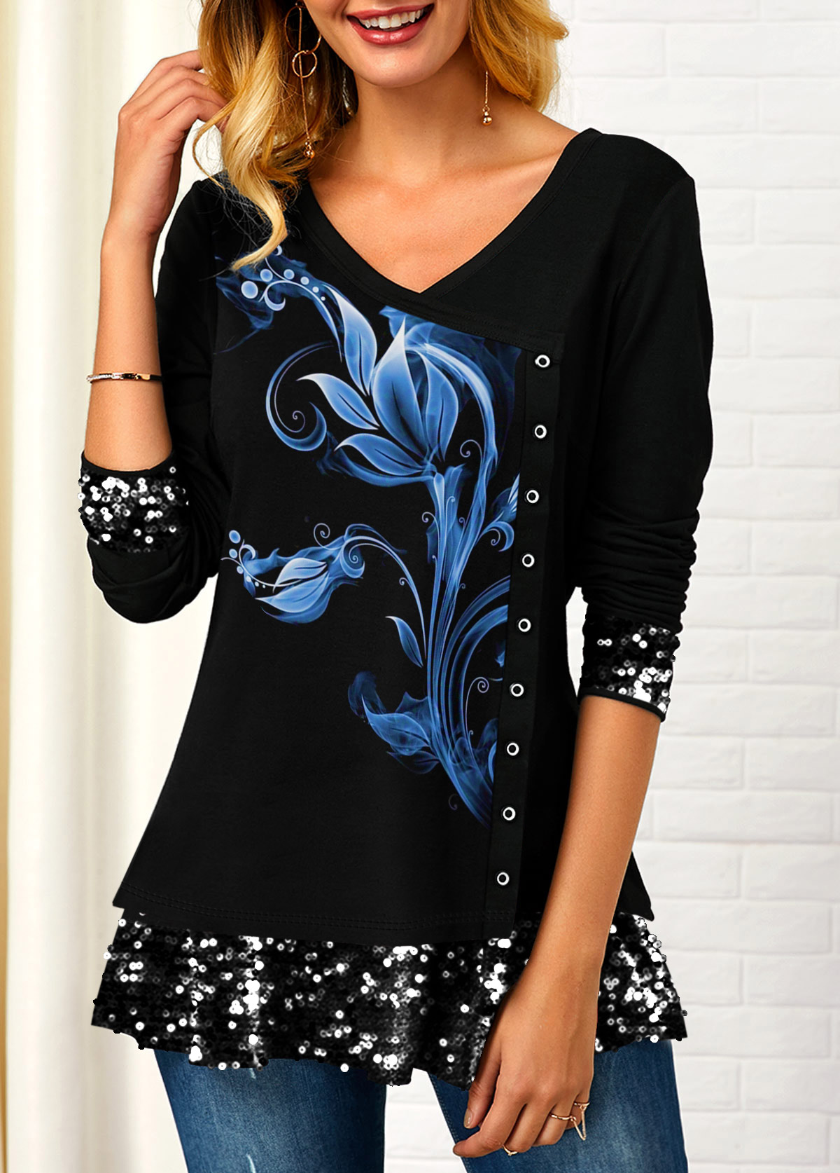 Sequin Detail Inclined Button Printed T Shirt