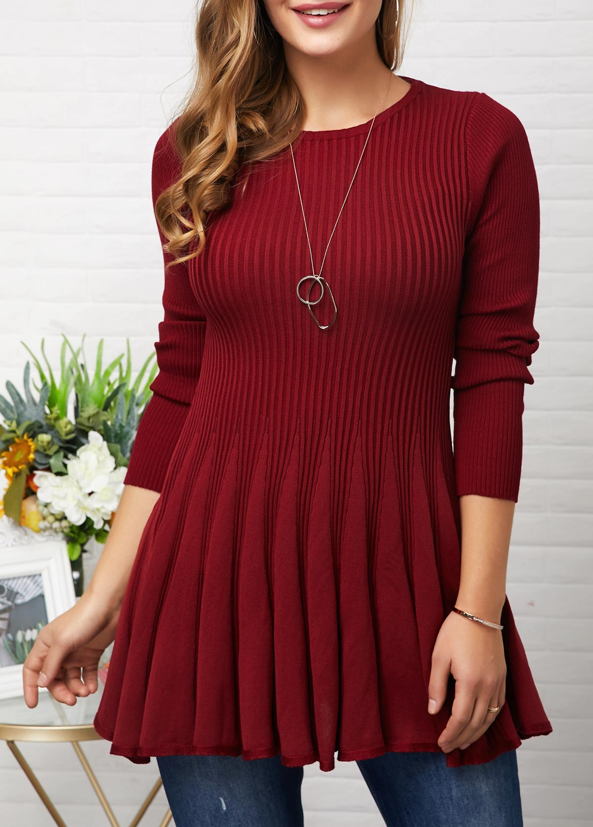 Round Neck Wine Red Long Sleeve Sweater