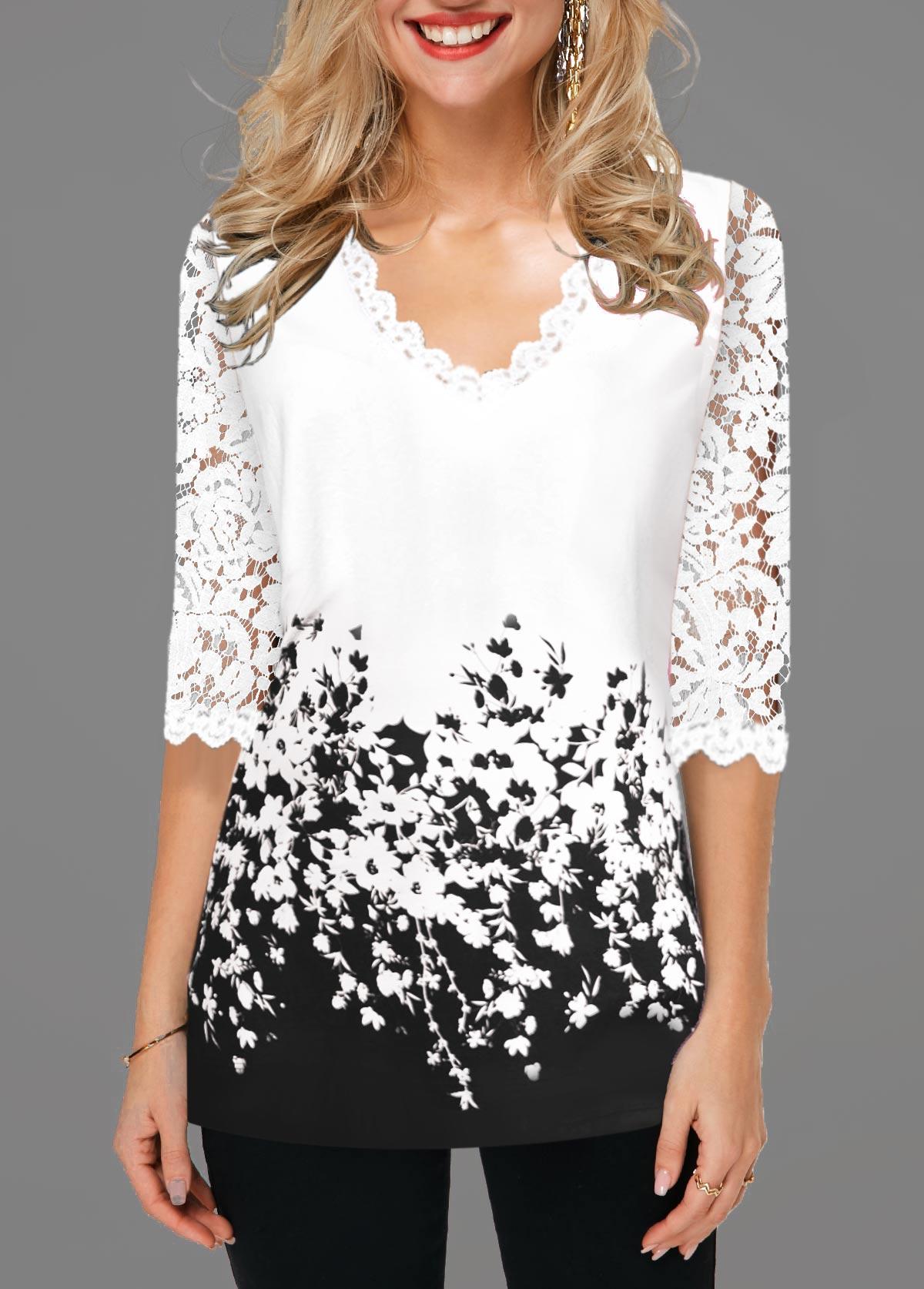 Lace Detail Contrast Panel Floral Print T Shirt