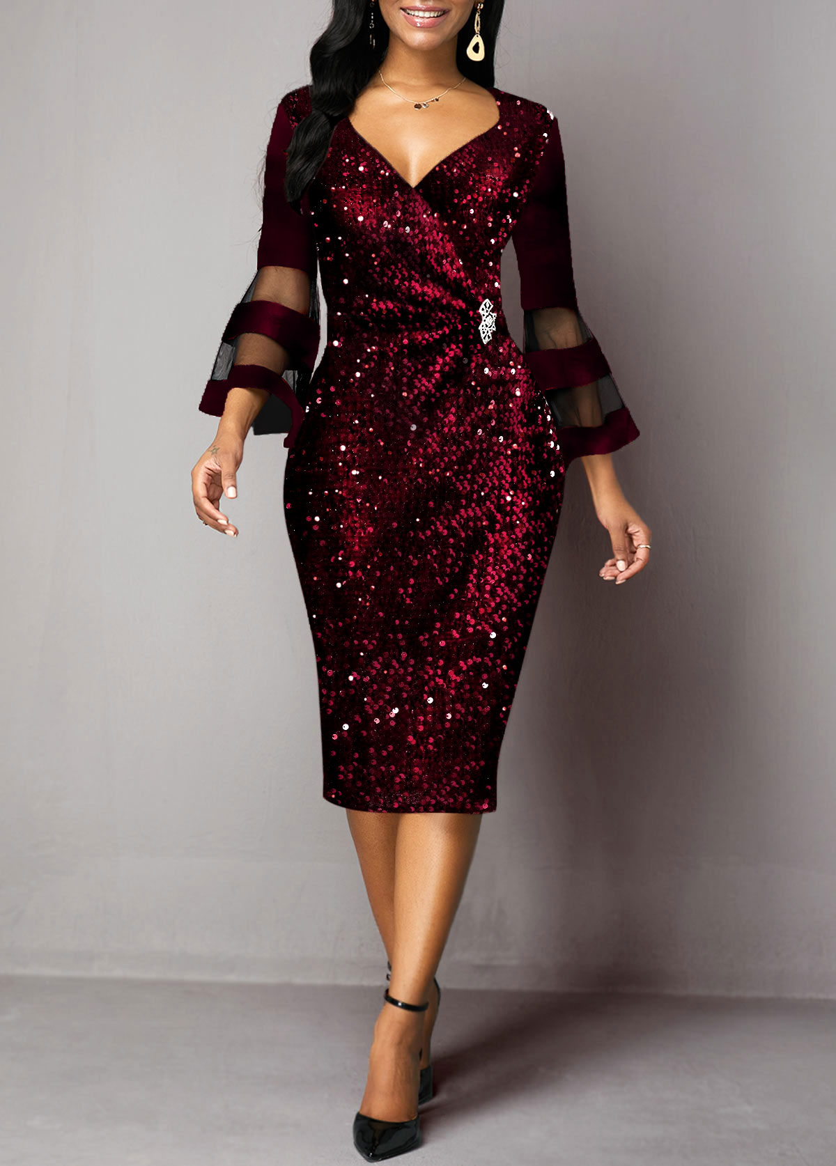 ROTITA Sequin Detail Mesh Panel Flare Sleeve Sheath Dress