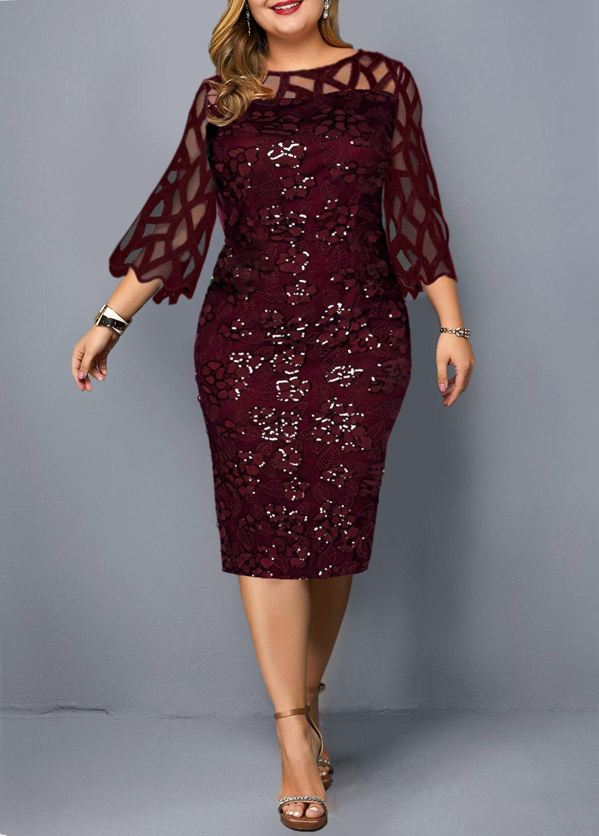 ROTITA Plus Size Mesh Panel Sequin Detail Dress