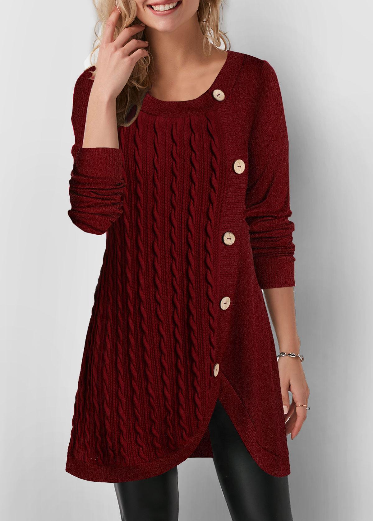 Inclined Button Twist Detail Tulip Hem Sweatshirt