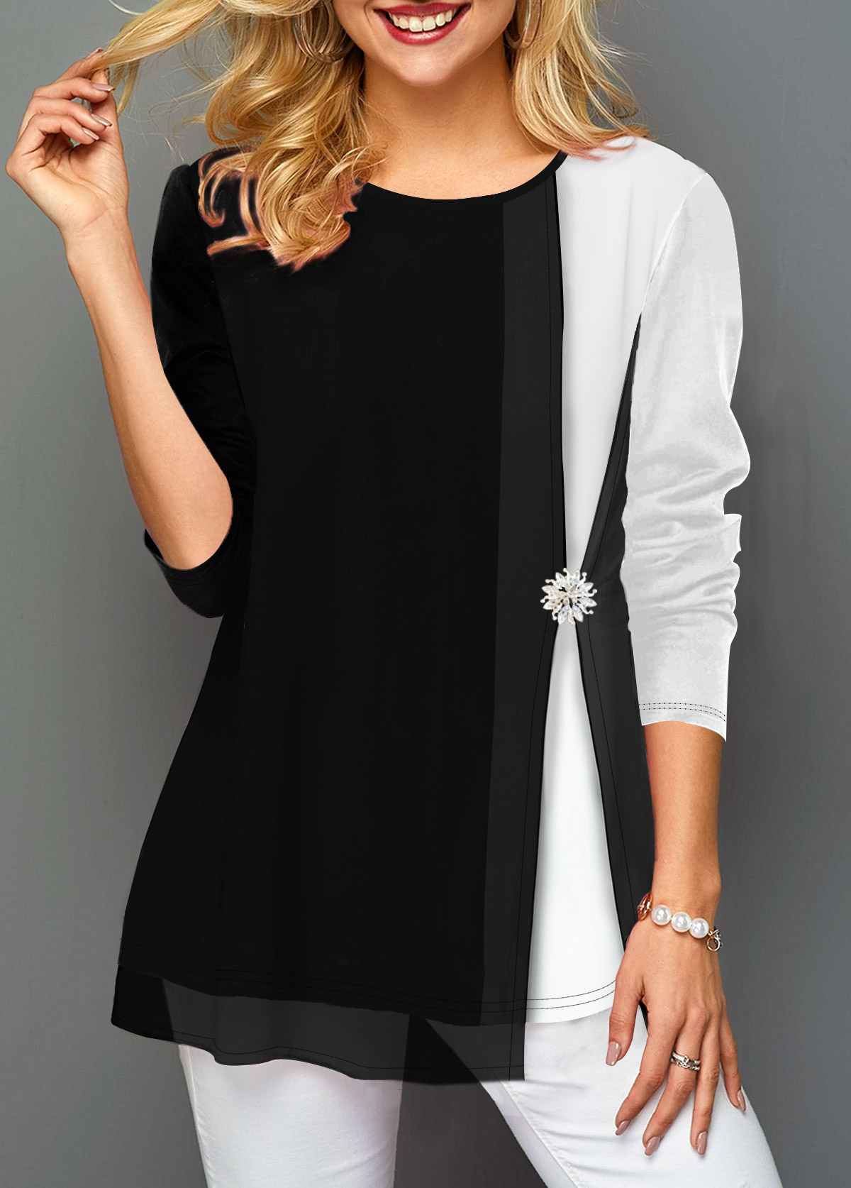 Contrast Panel Faux Two Piece Decorated Button T Shirt