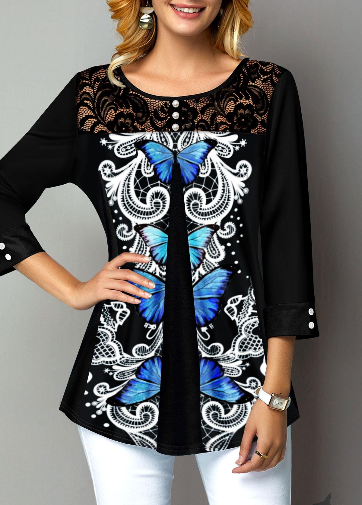 Lace Panel Symmetric Butterfly Button Detail T Shirt