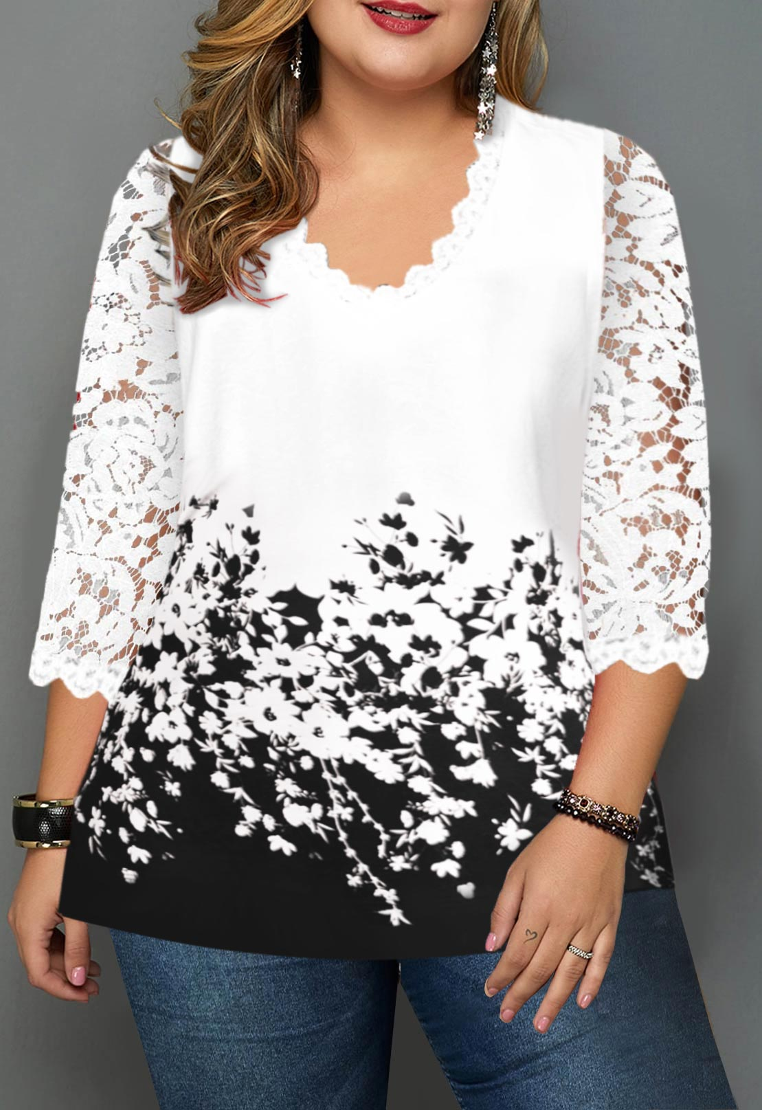 ROTITA Plus Size Lace Panel Floral Print T Shirt