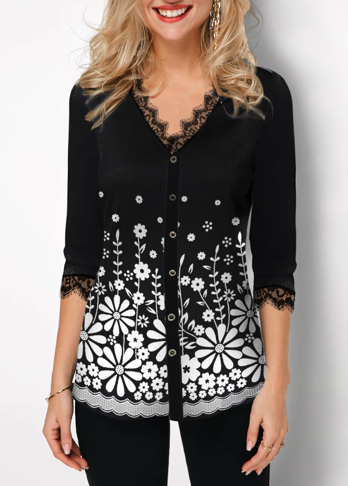 Lace Panel Floral Print Button Up T Shirt
