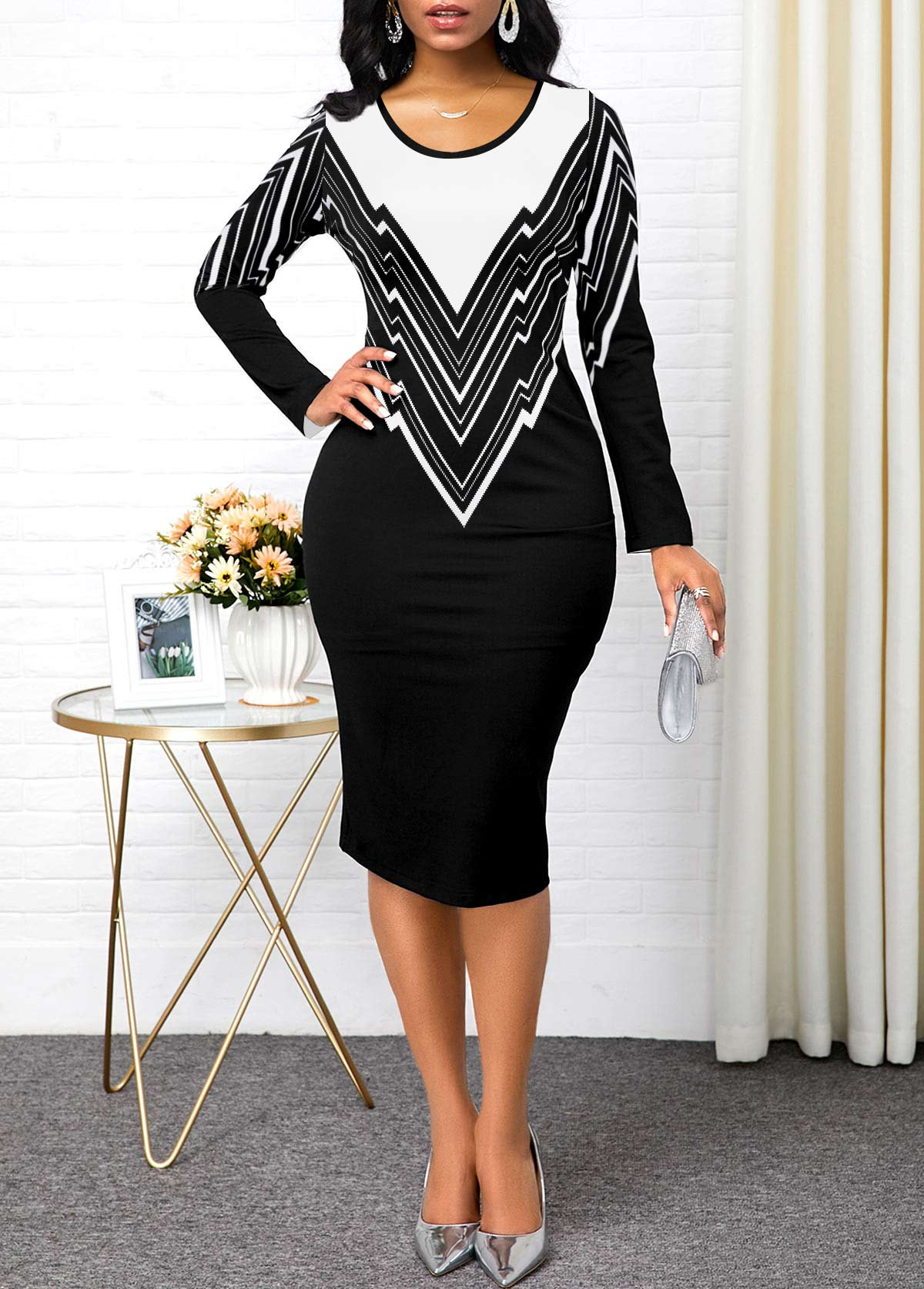 Geometric Print Contrast Panel Long Sleeve Sheath Dress