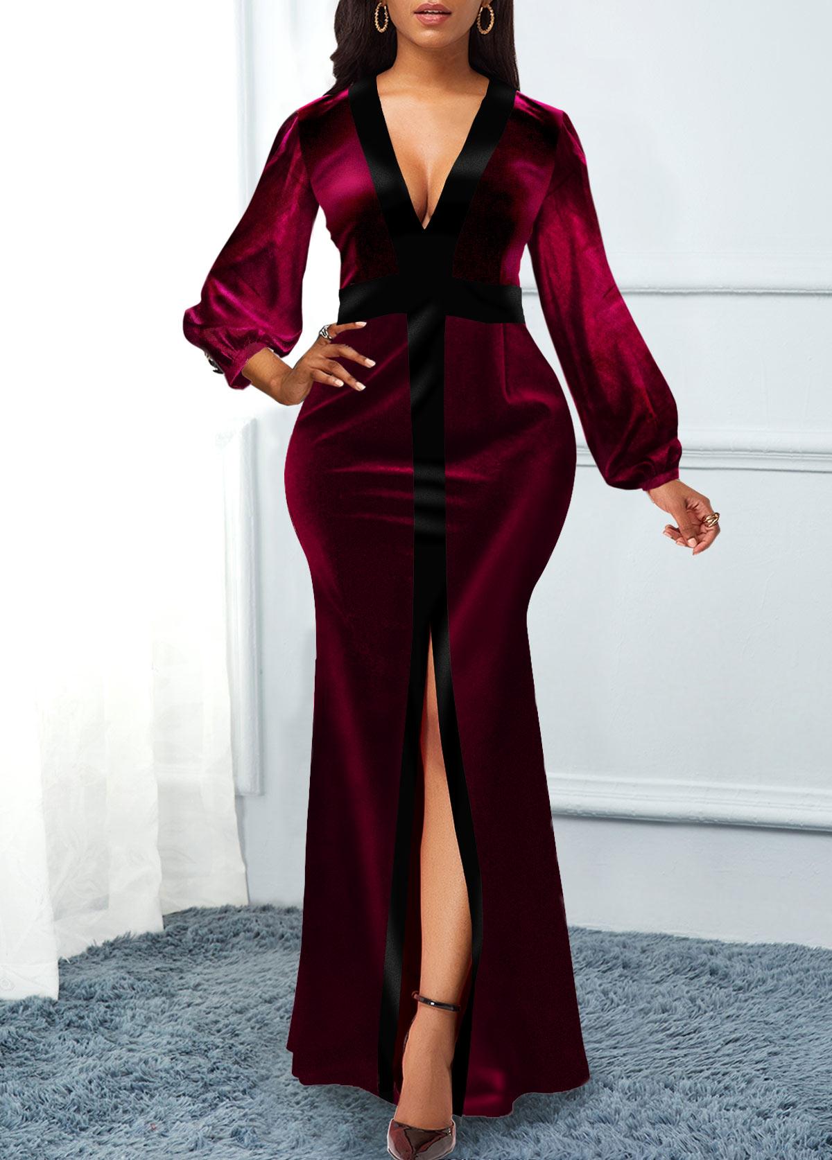 Plunging Neck Long Sleeve Front Slit Velvet Dress
