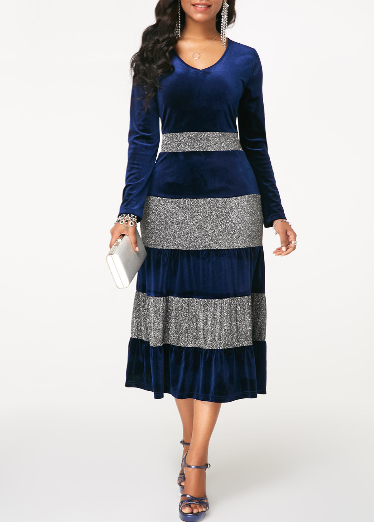 V Neck Long Sleeve Contrast Panel Dress