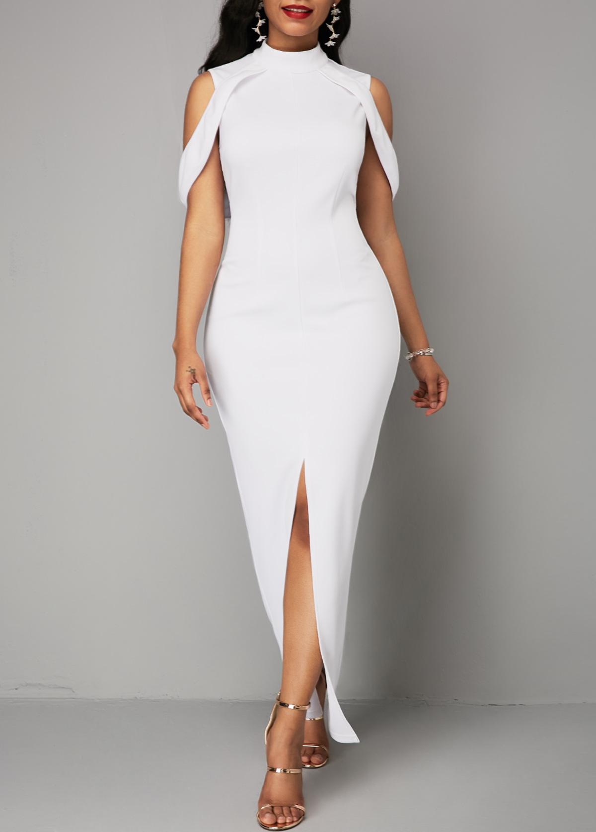 Front Slit White Mock Neck Maxi Dress