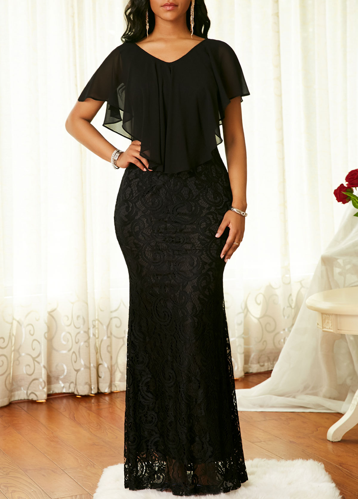 Cape Shoulder Black V Neck Lace Dress