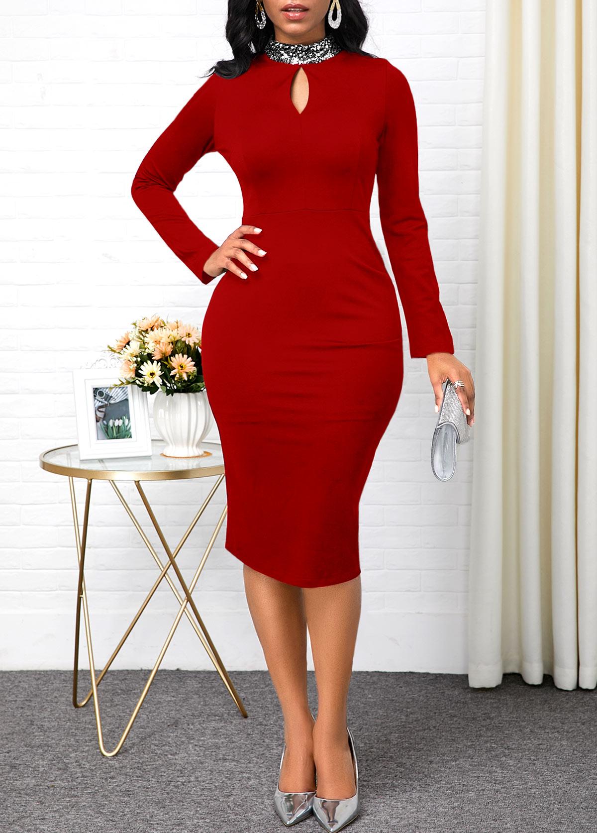 Keyhole Neckline Red Long Sleeve Sheath Dress