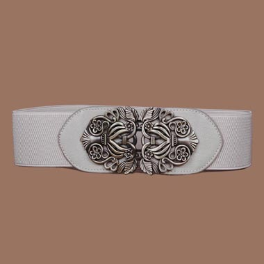 Elastic Waist White Carved Detail Buckle Belt