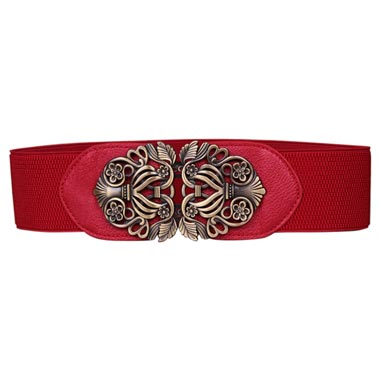 Carved Detail Elastic Waist Red Buckle Belt