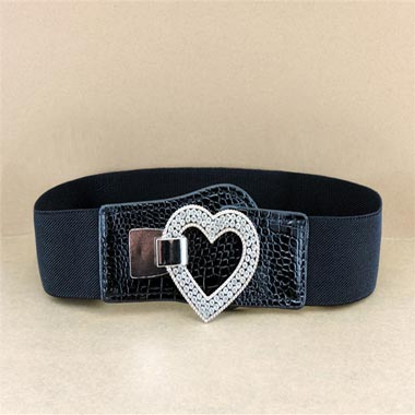Black Elastic Waist Heart Design Buckle Belt