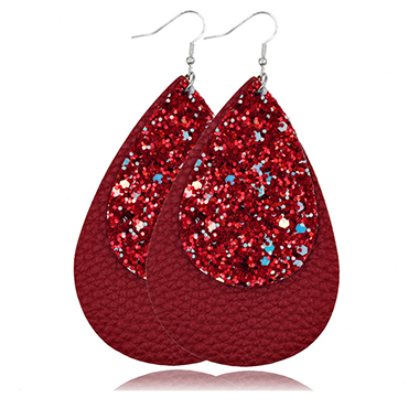 Layered Sequin Detail Wine Red Earring Set