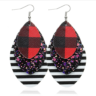 Sequin Detail Layered Striped Red Earring Set