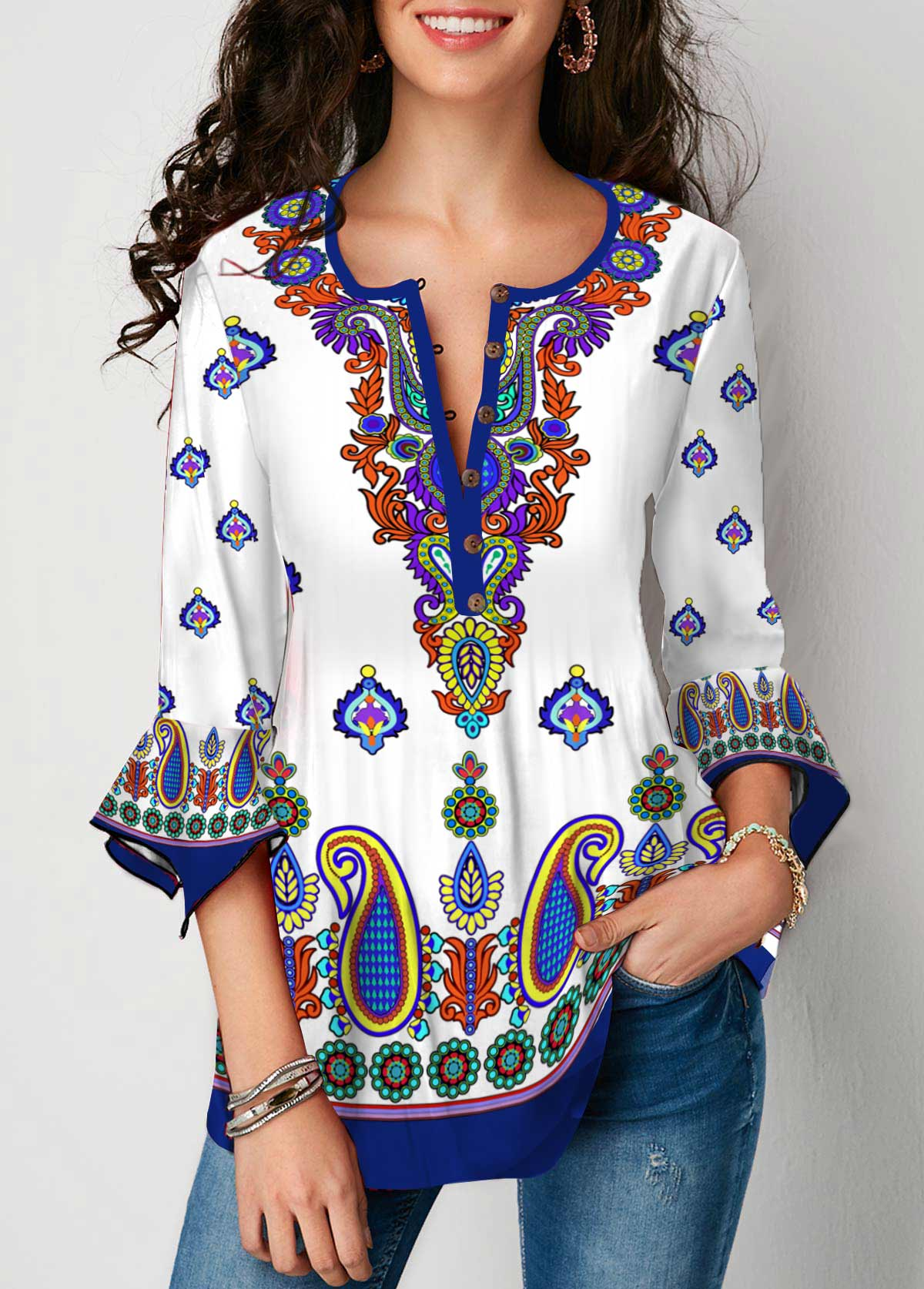 Flare Cuff Tribal Print Crinkle Chest Blouse