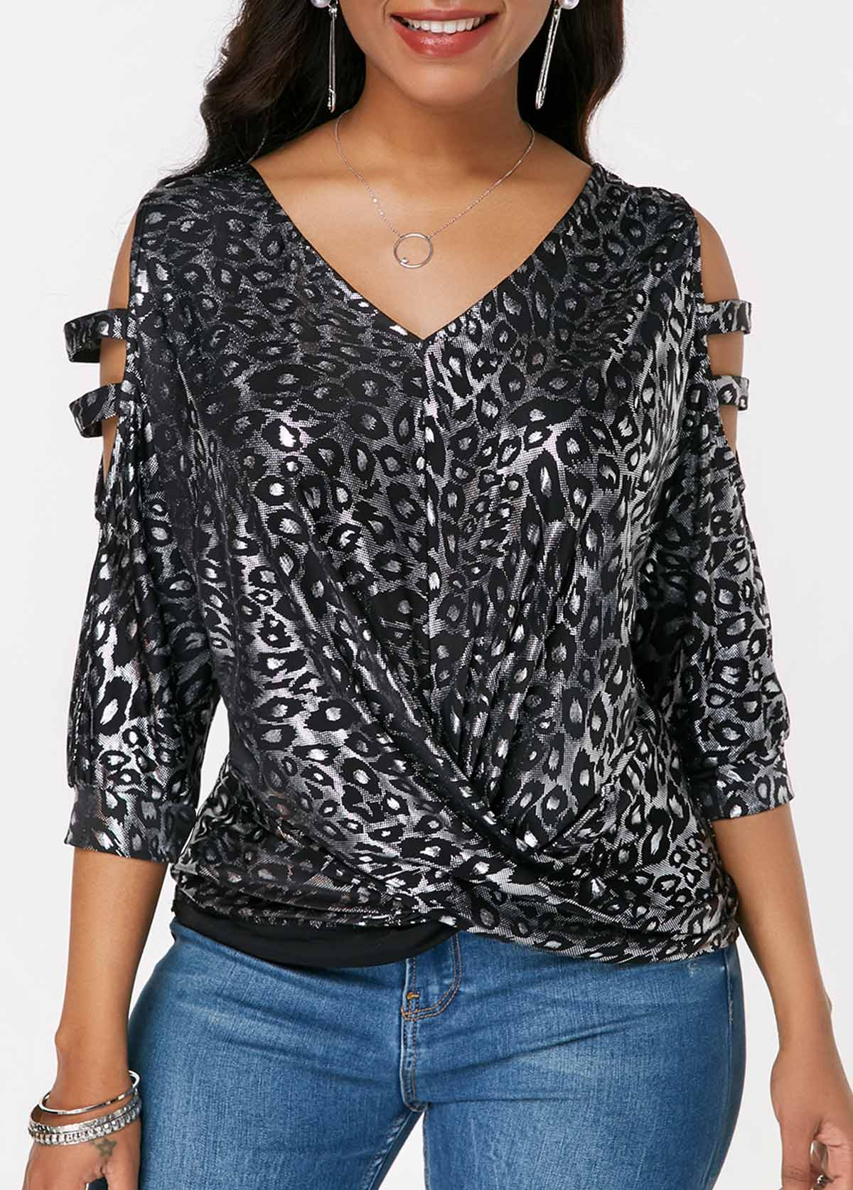 Leopard Print Cross Strap Ladder Cutout Blouse