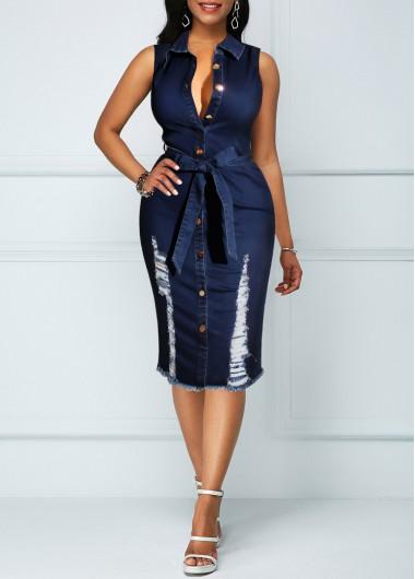 Sleeveless   Button   Denim   Dress   Belt   Up