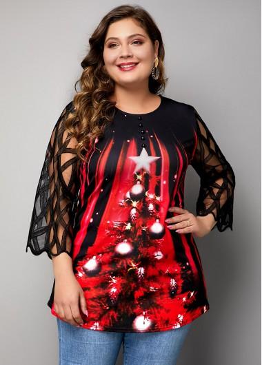 Plus Size Mesh Panel Christmas Tree Print T Shirt