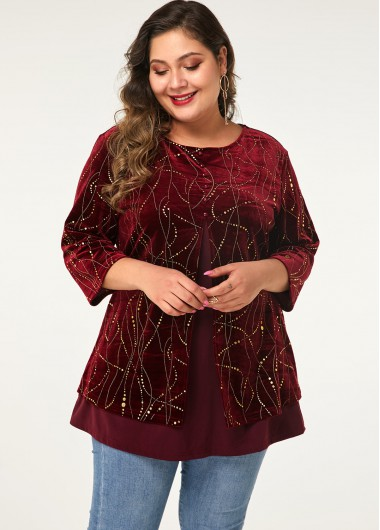Three Quarter Sleeve Plus Size Button Front T Shirt