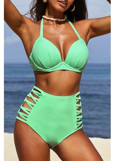 Halter Mint Green Spaghetti Strap Bikini Set
