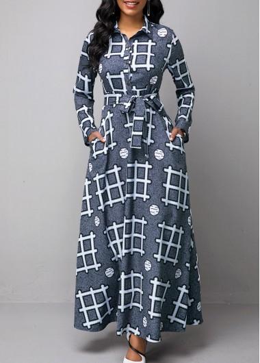 Long Sleeve Geometric Print Turndown Collar Dress