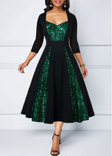 Sequin Panel A Line Three Quarter Sleeve Dress