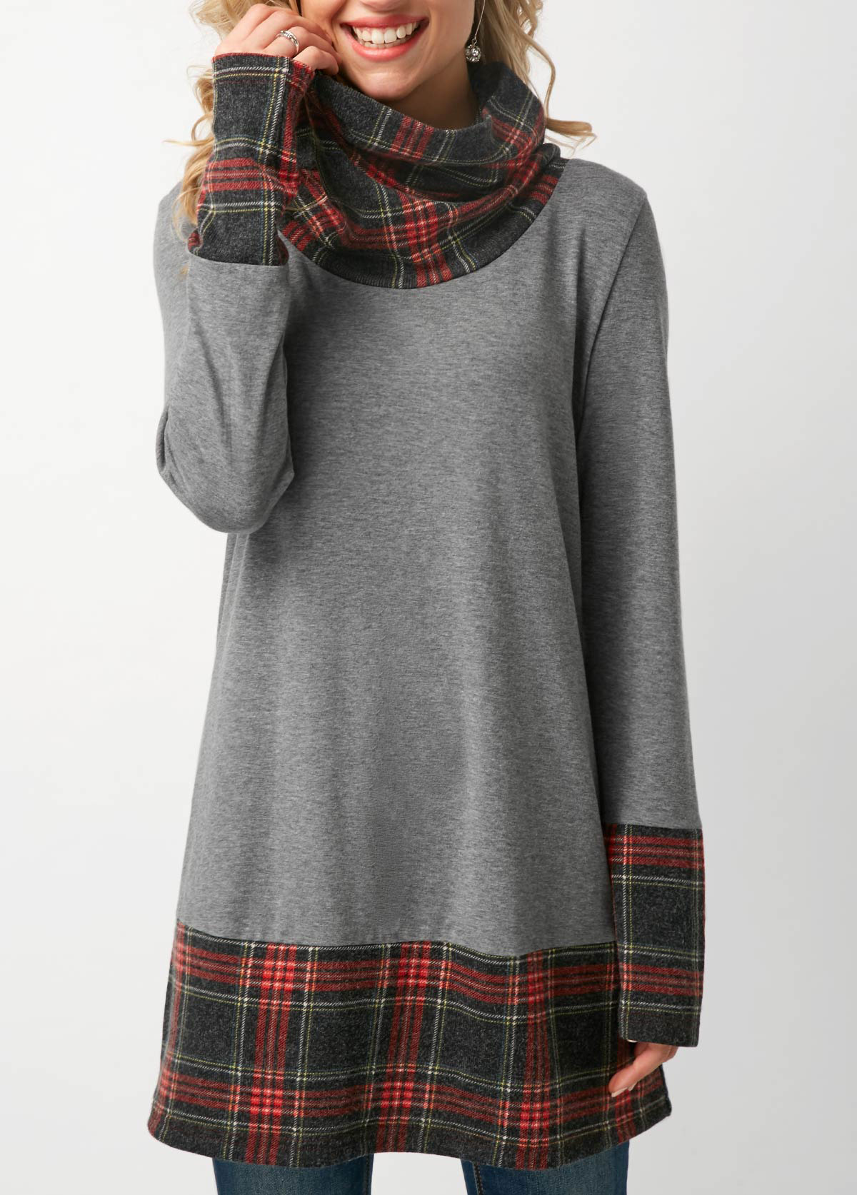ROTITA Plaid Print Long Sleeve Cowl Neck T Shirt