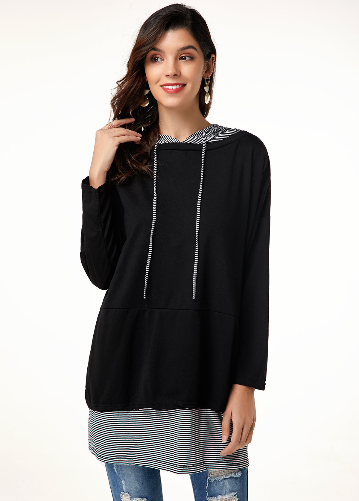 Long Sleeve Striped Drawstring Black Tunic Top