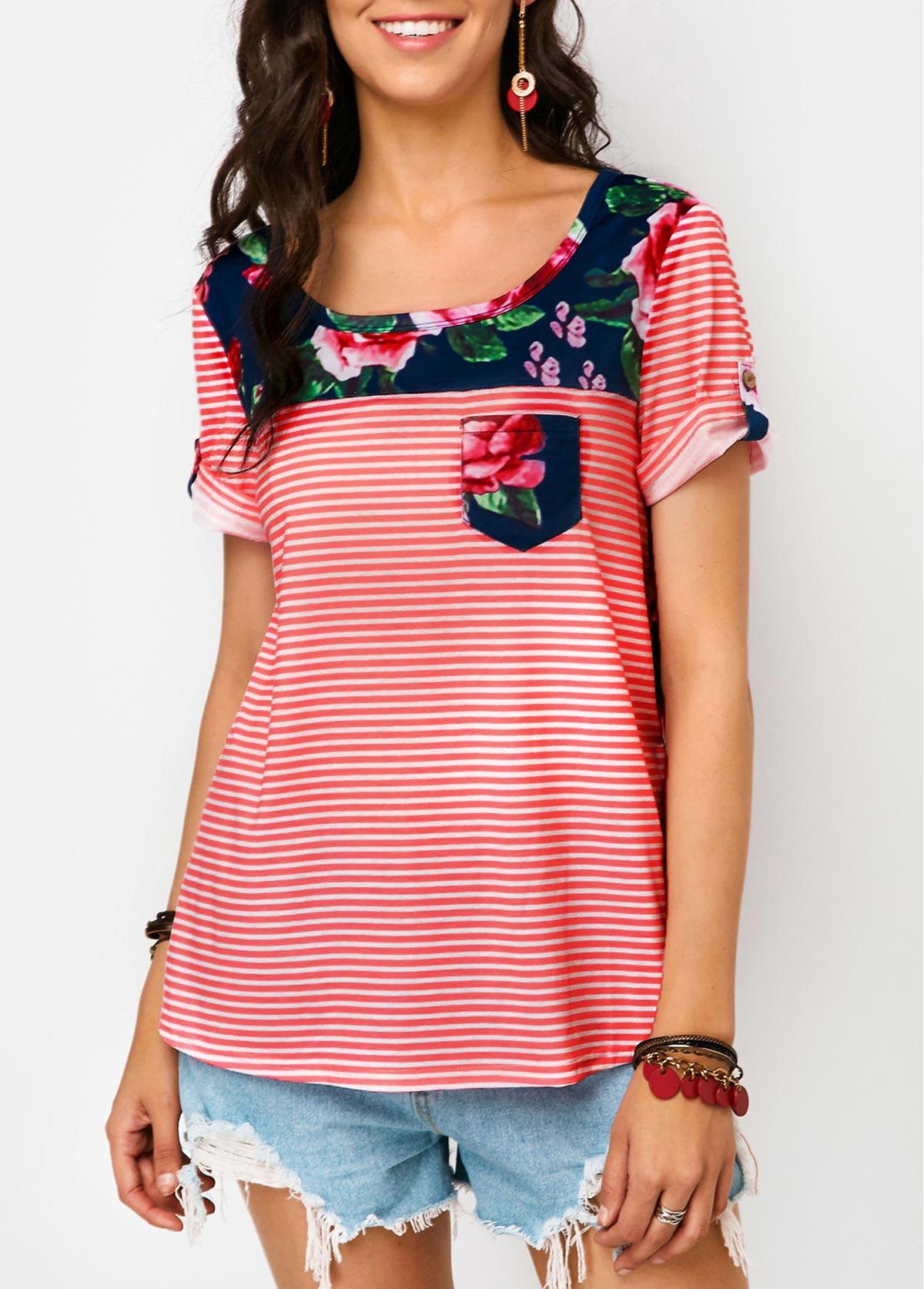 ROTITA Roll Sleeve Flower Print T Shirt