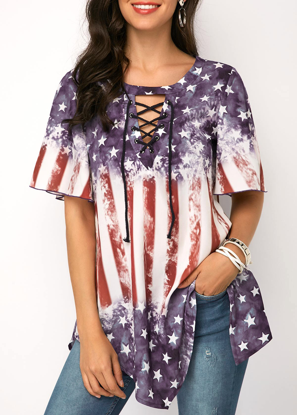 ROTITA Star and Stripe Print Lace Up Blouse