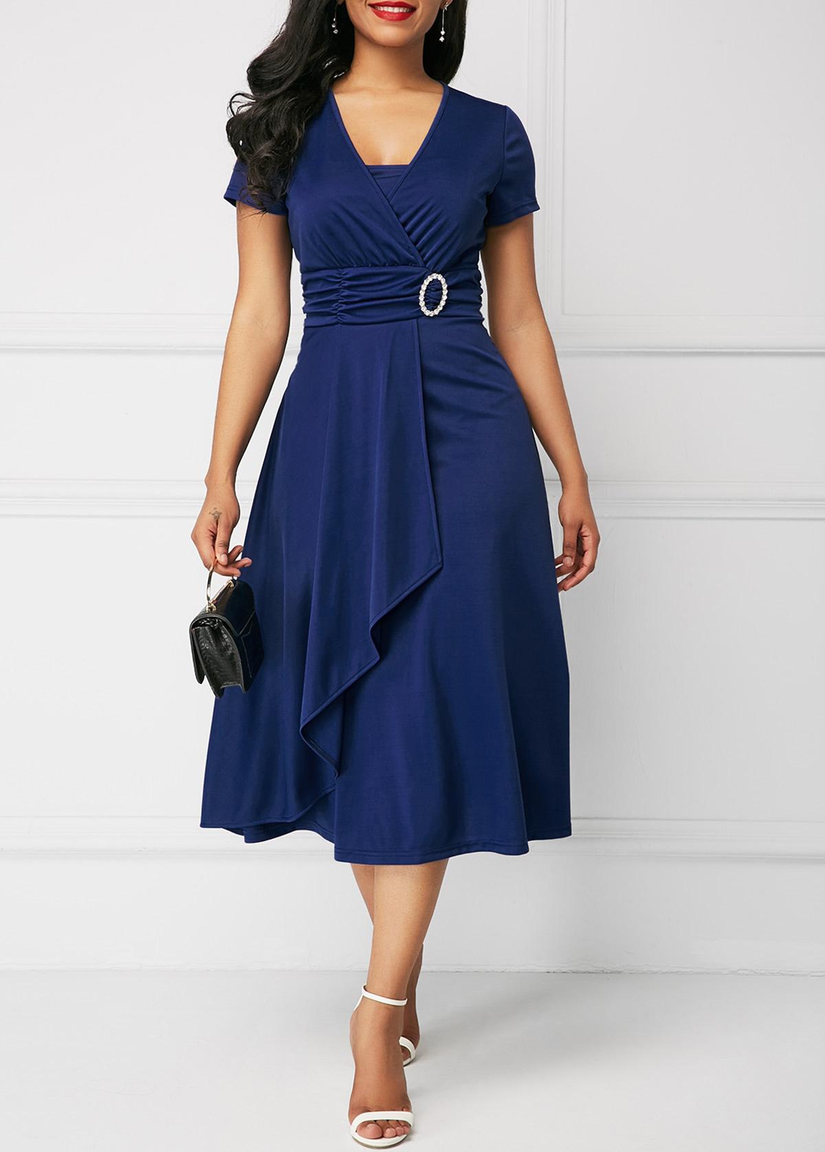ROTITA Short Sleeve Royal Blue Asymmetric Hem Dress