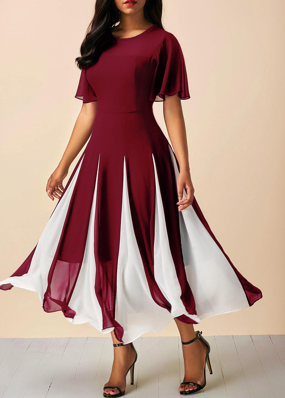 Short Sleeve Wine Red Round Neck Chiffon Dress