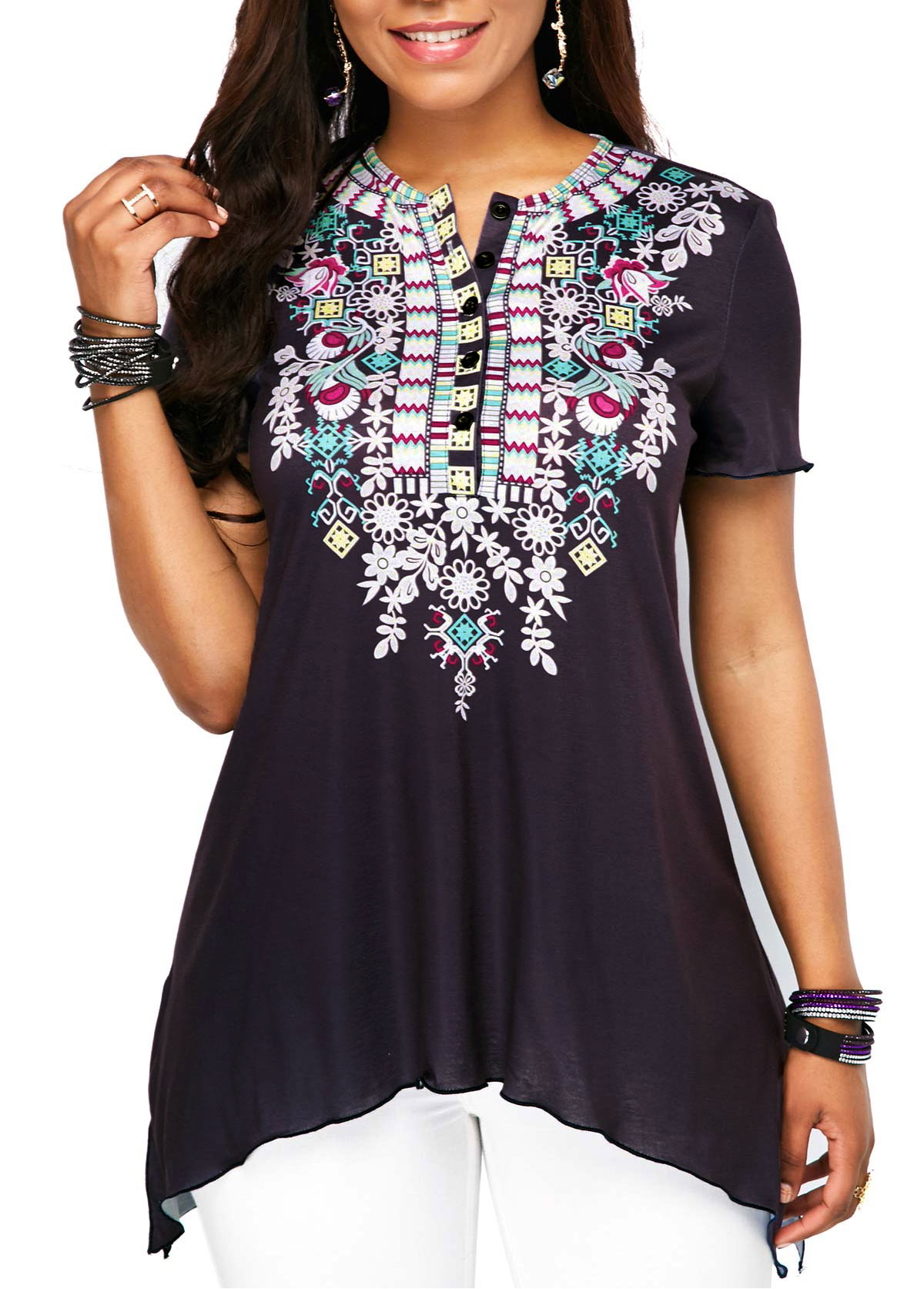 Short Sleeve Button Up Printed Blouse