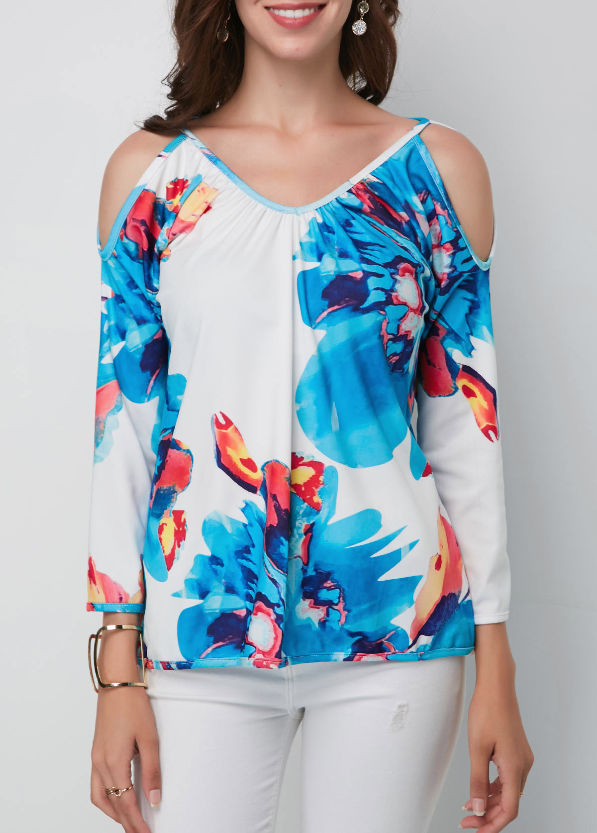 ROTITA V Neck Cold Shoulder Printed Blouse