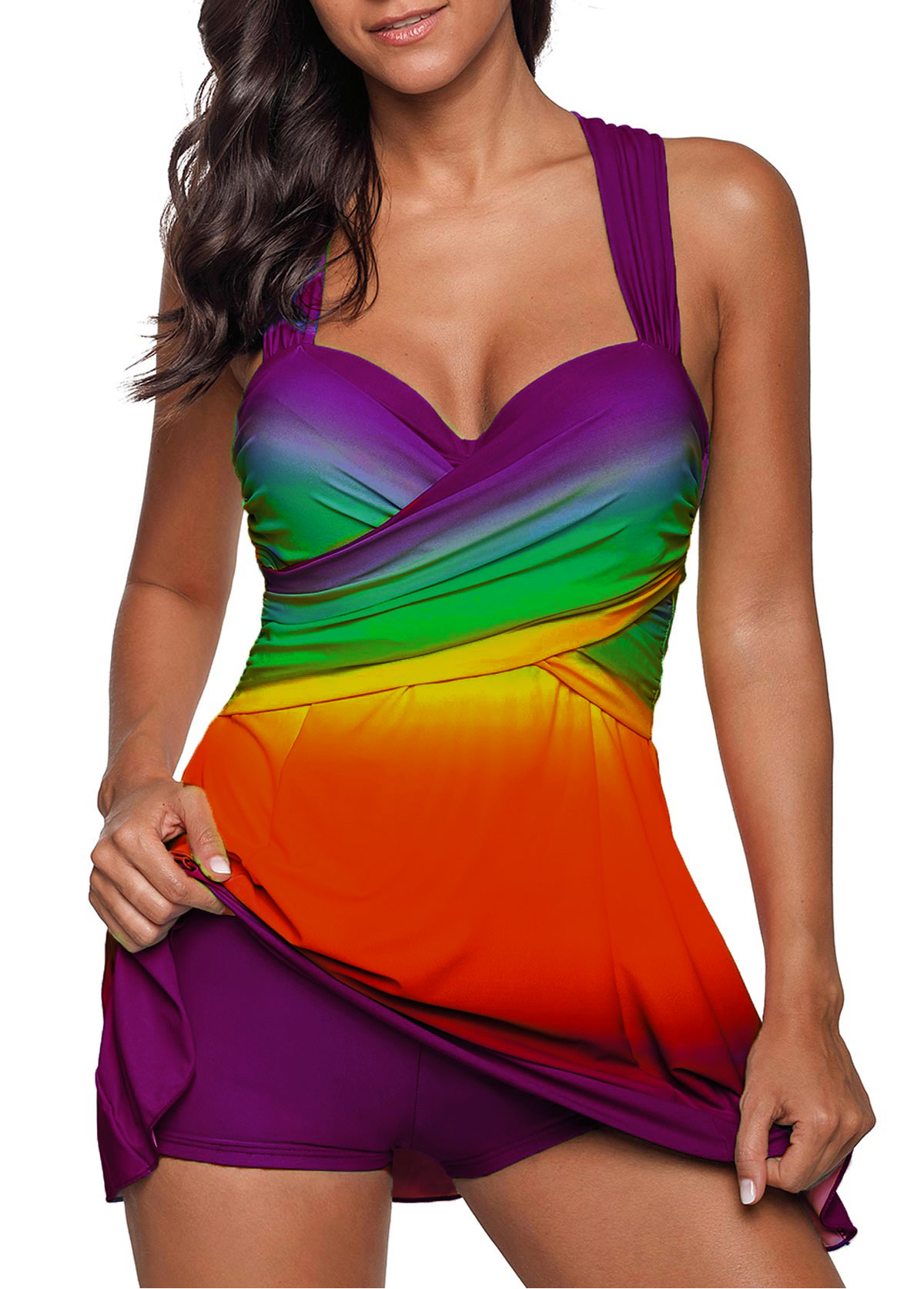 Rainbow Color Wrap Front Printed Swimdress and Shorts
